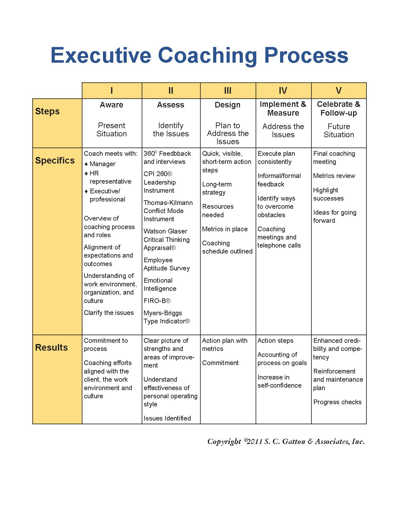 Executive Coaching Process Table